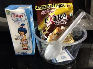 Free breakfast meal box with milk and container to eat