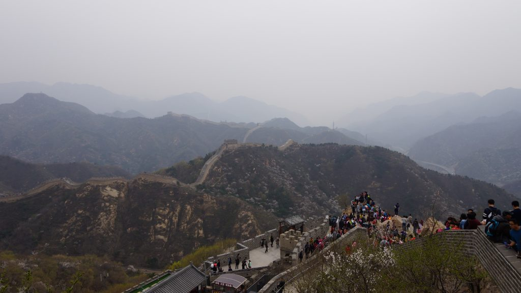The Great Wall snaking across the hills