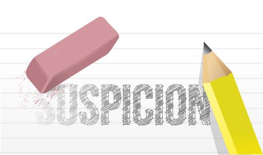 erasing suspicion concept illustration