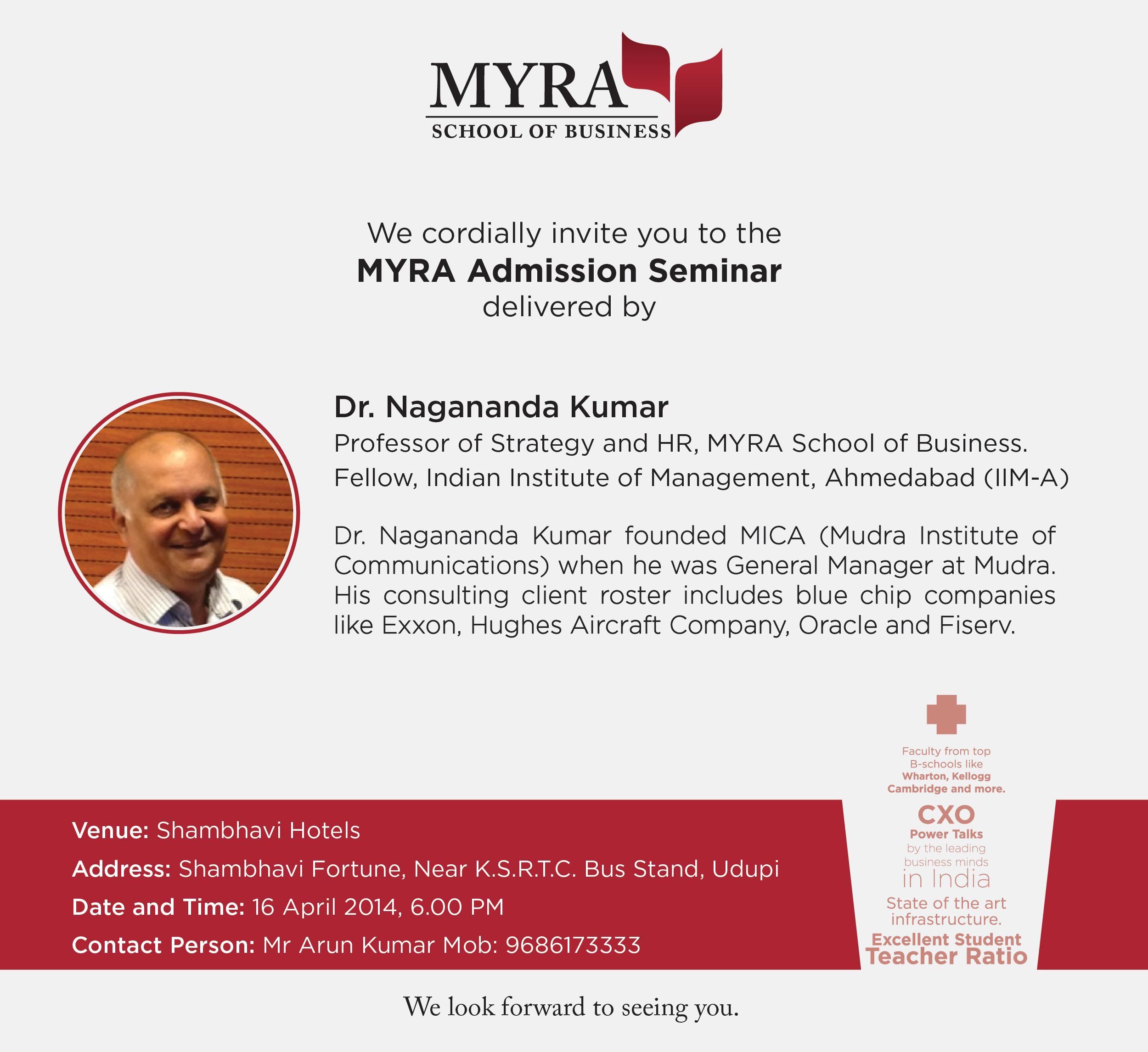 MYRA-AdmissionSeminar-Udupi_invite