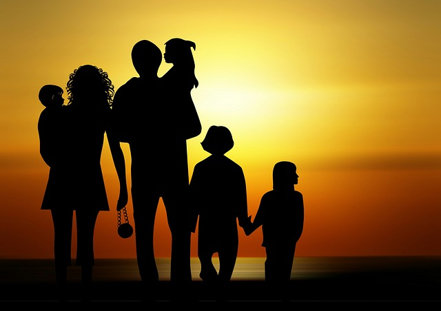 big happy family silhouette