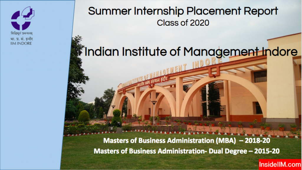 Summer Placements - Class Of 2020 - IIM Indore ⋆ InsideIIM com
