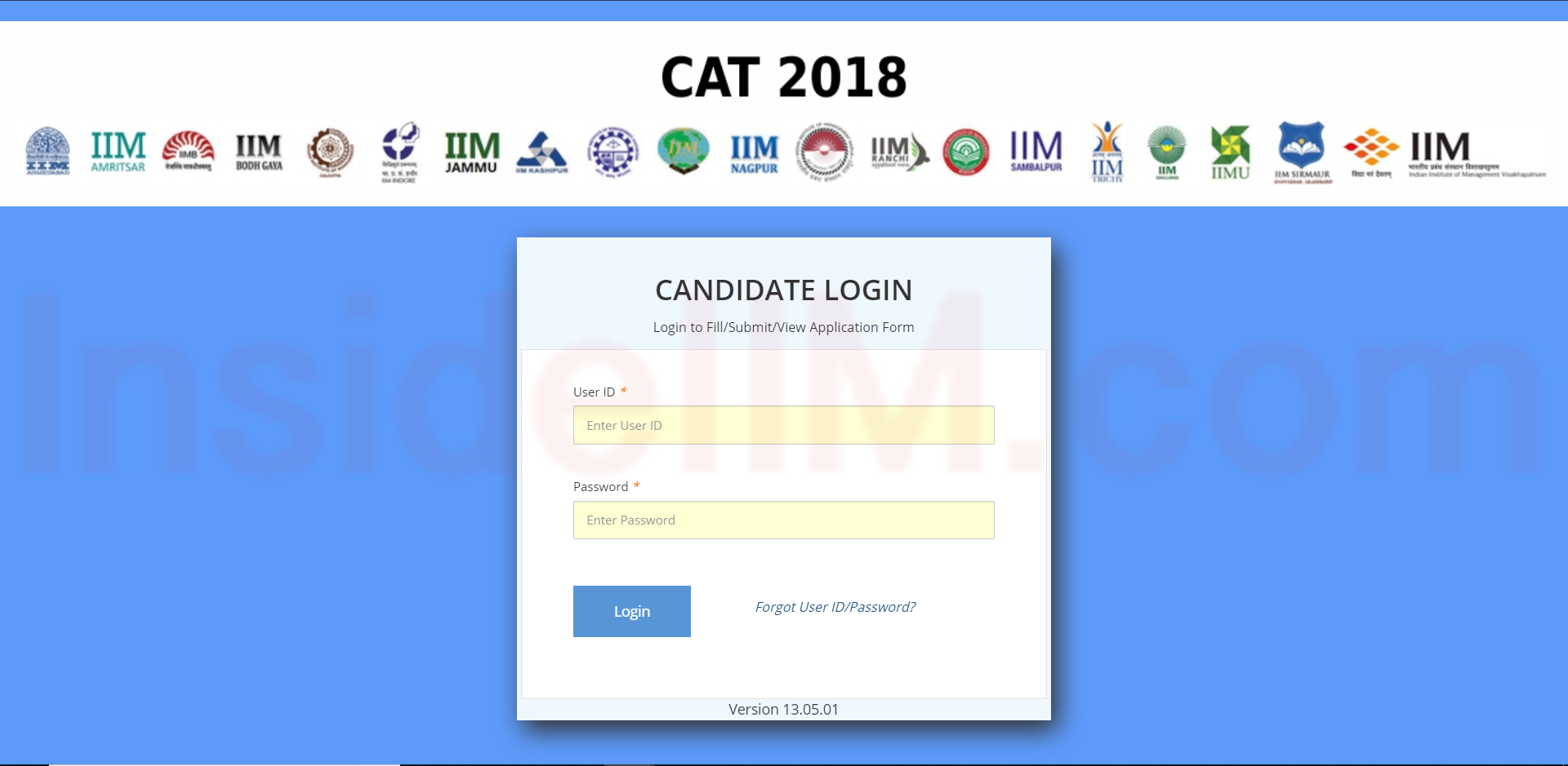 CAT Login screen