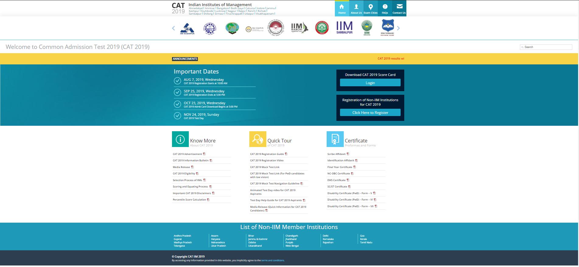 CAT 2019 Official Website