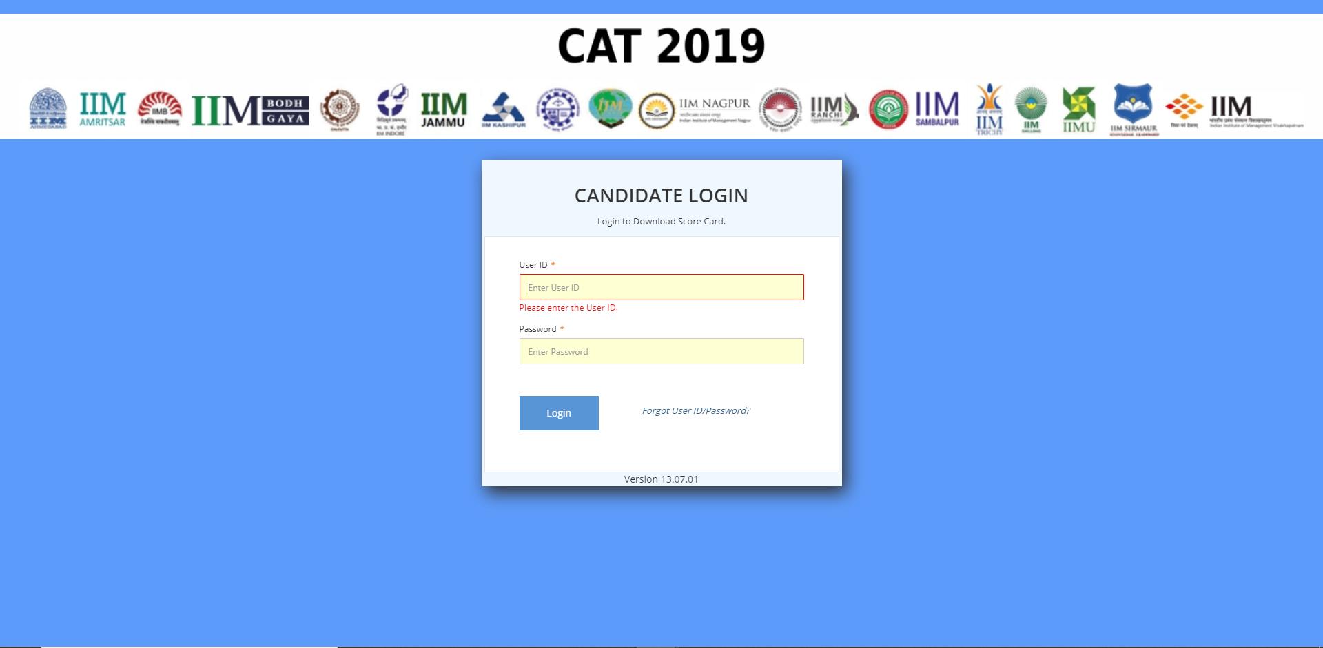 CAT Login screen