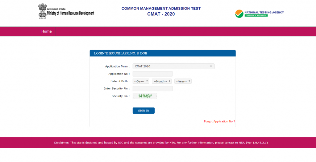 CMAT Candidate Login Through Application Number and Date of Birth