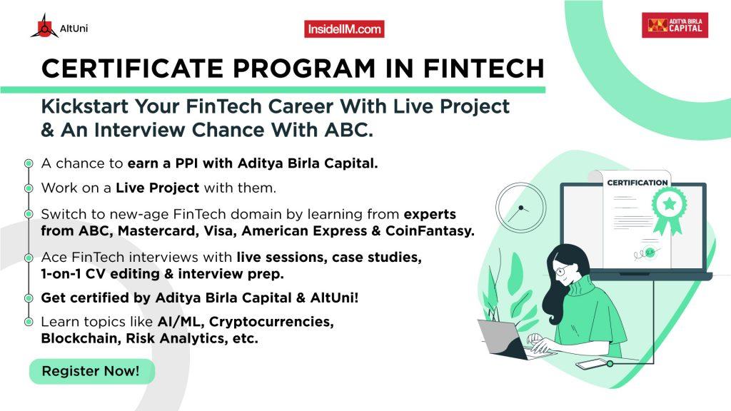 Certificate Program in FinTech